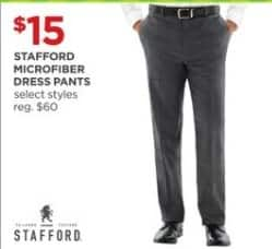 JCPenney Black Friday: Stafford Men's Microfiber Dress Pants, Select Styles for $15.00