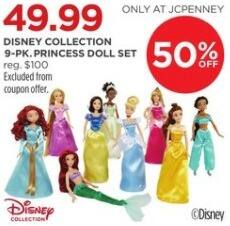 JCPenney Black Friday: Disney Collection Princess Doll Set, 9-Pk. for $49.99