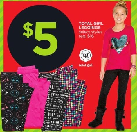 JCPenney Black Friday: Total Girl Girl's Leggings, Select Styles for $5.00