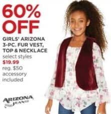 JCPenney Black Friday: Arizona Girls' 3-Pc. Fur Vest, Top and Necklace, Select Styles for $19.99
