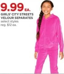 JCPenney Black Friday: City Streets Girls' Velour Separates, Select Styles for $9.99