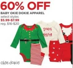 JCPenney Black Friday: Okie Dokie Baby Apparel, Select Styles for $5.99 - $7.99