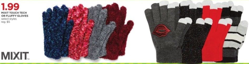 JCPenney Black Friday: Mixit Touch Tech or Fluffy Gloves, Select Styles for $1.99