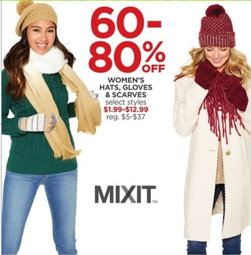 JCPenney Black Friday: Mixit Women's Hats, Gloves and Scarves, Select Styles - 60-80% Off