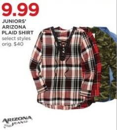 JCPenney Black Friday: Arizona Juniors' Plaid Shirt, Select Styles for $9.99