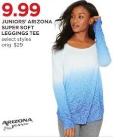 JCPenney Black Friday: Arizona Juniors' Super Soft Leggings Tee, Select Styles for $9.99