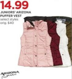 JCPenney Black Friday: Arizona Juniors' Puffer Vest, Select Styles for $14.99