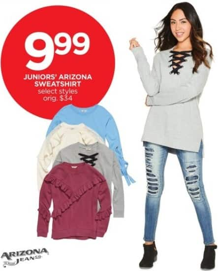JCPenney Black Friday: Arizona Juniors' Sweatshirt, Select Styles for $9.99