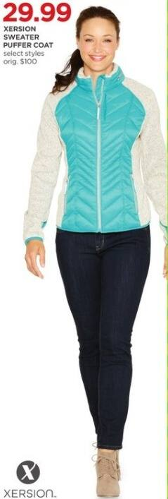 JCPenney Black Friday: Xersion Women's Sweater Puffer Coat, Select Styles for $29.99