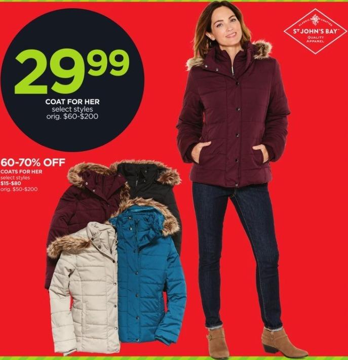 JCPenney Black Friday: St. John's Bay Women's Coat for Her, Select Styles for $29.99