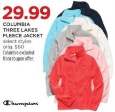 JCPenney Black Friday: Columbia Women's Three Lakes Fleece Jacket, Select Styles for $29.99