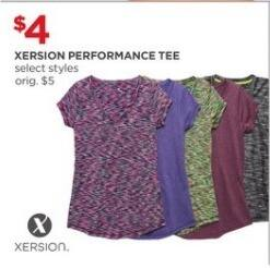 JCPenney Black Friday: Xersion Women's Performance Tee, Select Styles for $4.00