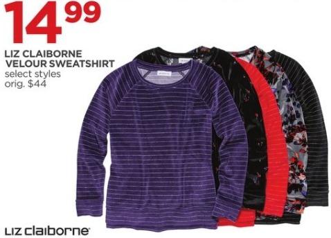 JCPenney Black Friday: Liz Claiborne Women's Velour Sweatshirt, Select Styles for $14.99
