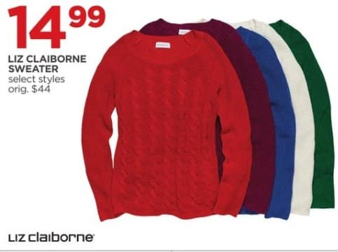 JCPenney Black Friday: Liz Claiborne Women's Sweater, Select Styles for $14.99