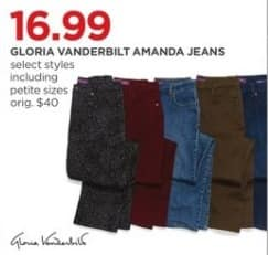 JCPenney Black Friday: Gloria Vanderbilt Women's Amanda Jeans, Select Styles for $16.99