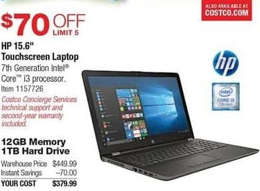 "Costco Wholesale Black Friday: HP 15.6"" Touchscreen Laptop: i3 7100U, 12GB RAM, 1TB HDD, Win 10 for $379.99"