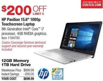 "Costco Wholesale Black Friday: HP Pavilion 15.6"" Touchscreen Laptop: i7 8850U, 12GB RAM, 1TB HDD, Nvidia 940MX, Win 10 for $699.99"