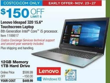 "Costco Wholesale Black Friday: Lenovo Ideapad 320 15.6"" Touchscreen Laptop: i5 8250U, 12GB RAM, 1TB HDD, Win 10 Home for $449.99"