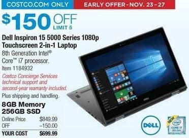 Costco Wholesale Black Friday: Dell Inspiron 15 5000 Series 2-in-1 Laptop: i7, 8GB RAM, 256GB SSD, Win 10 for $699.99