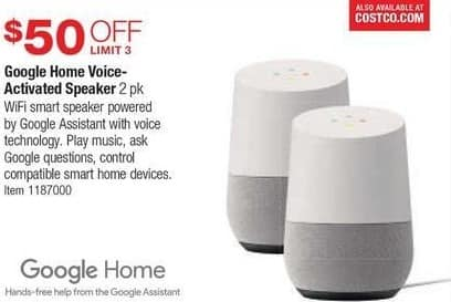 Costco Wholesale Black Friday: Google Home Voice-Activated Speaker, 2 Pk. - $50 Off