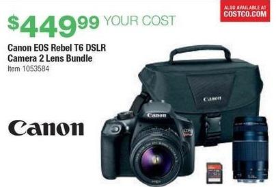 Costco Wholesale Black Friday: Canon EOS Rebel T6 DSLR Camera 2 ...
