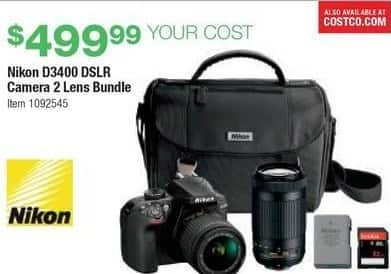 Costco Wholesale Black Friday: Nikon D3400 DSLR Camera 2 Lens Bundle for $499.99