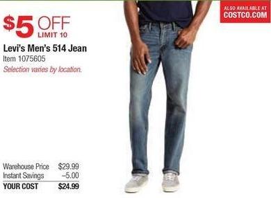 Costco Wholesale Black Friday: Levi's Men's 514 Jeans for $24.99