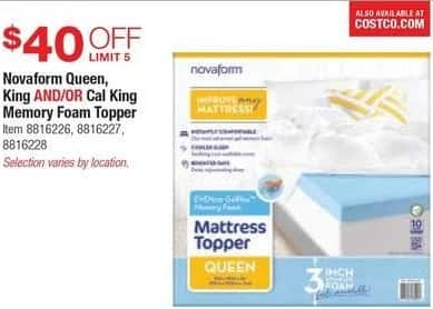 Costco Whole Black Friday Novaform Memory Foam Topper In Queen King Or Cal