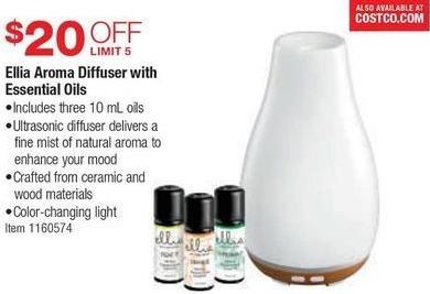 Costco Wholesale Black Friday: Ellia Aroma Diffuser w/ 3 10ml Essential Oils - $20 Off