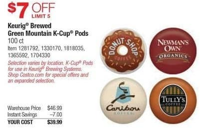 Costco Wholesale Black Friday: Keurig Brewed Green Mountain K-Cup Pods, 100 Ct., Select Styles for $39.99
