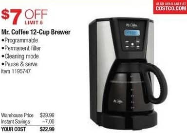 Costco Wholesale Black Friday: Mr. Coffee 12-Cup Brewer for $22.99