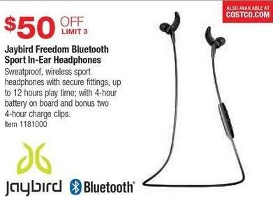 Costco Wholesale Black Friday: Jaybird Freedom Bluetooth Sport In-Ear Headphones - $50 Off