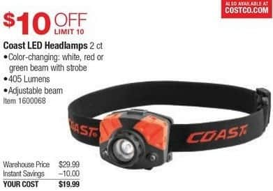 Costco Wholesale Black Friday: Coast LED Headlamps, 2 Ct. for $19.99