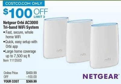 Costco Wholesale Black Friday: Netgear Orbi AC3000 Tri-Band WiFi System for $369.99