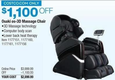 Costco Wholesale Black Friday: Osaki Os 3D Massage Chair For $2,899.99