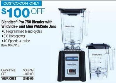 Costco Wholesale Black Friday: Blendtec Pro 750 Blender w/ Wildside+ and Mini WildSide Jars for $469.99