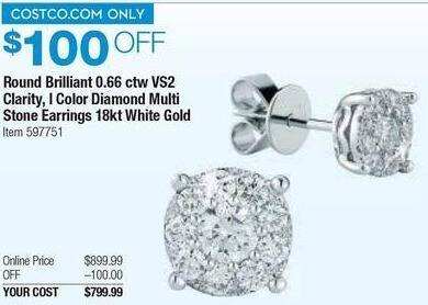 Costco Wholesale Black Friday: 0.66 ct tw Round Brilliant VS2 Clarity I Color Diamond Multi Stone Earrings in 18kt White Gold for $799.99