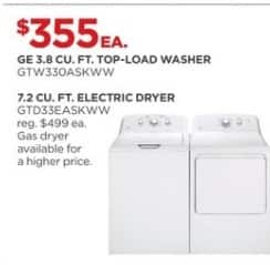 JCPenney Black Friday: GE 7.2 cu. ft. GTD33EASKWW Electric Dryer for $355.00