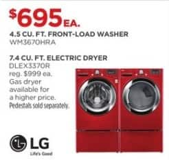 JCPenney Black Friday: LG 7.4 cu. ft. DLEX3370R Electric Dryer for $695.00