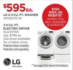 JCPenney Black Friday: LG 7.4 cu. ft. DLE3170W Electric Dryer for $595.00