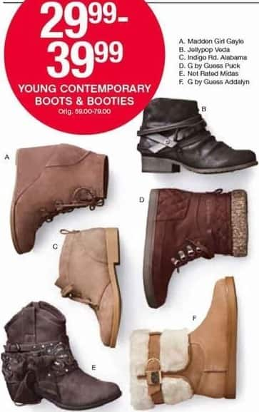 Belk Black Friday: Young Contemporary Women's Boots & Booties for $29.99 - $39.99