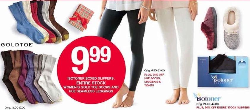 Belk Black Friday: Entire Stock Women's Gold Toe Socks and Hue Seamless Leggings for $9.99