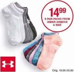 Belk Black Friday: Under Armour and Nike Socks, 6 Pair for $14.99