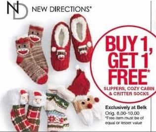 Belk Black Friday: New Directions Slippers, Cozy Cabin & Critter Socks - B1G1 Free