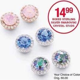 Belk Black Friday: Boxed Sterling Silver Swarovski Crystal Studs for $14.99