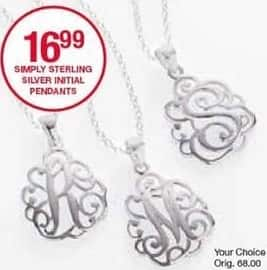 Belk Black Friday: Simply Sterling Silver Initial Pendants for $16.99