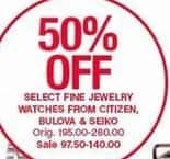 Belk Black Friday: Select Fine Jewelry Watches from Citizen, Bulova & Seiko - 50% Off