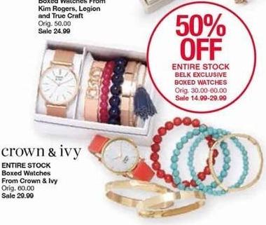 Belk Black Friday: Entire Stock Belk Exclusive Boxed Watches - 50% Off