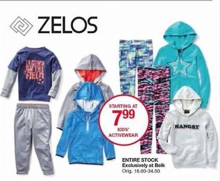 Belk Black Friday: Entire Stock Zelos Kids' Activewear - Starting at $7.99