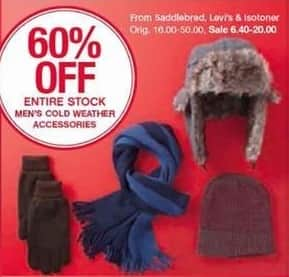 Belk Black Friday: Entire Stock Men's Cold Weather Accessories From Saddlebred, Levi's and Isotoner - 60% Off